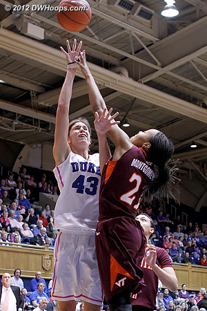 DWHoops Photo  - Duke Tags: #43 Allison Vernerey - VT Players: #21 Brittni Montgomery