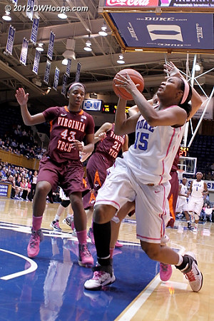 Richa Jackson injured her left knee on this play - Duke later announced that she would miss the remainder of the season with a torn ACL.  - Duke Tags: #15 Richa Jackson