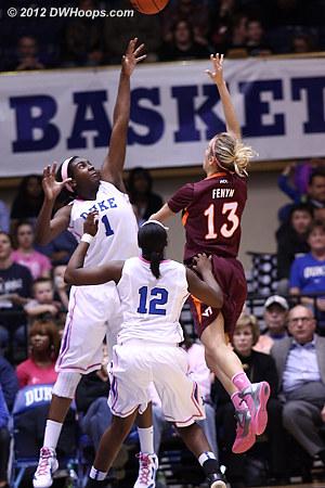Fenyn hits over Williams, Duke leads 28-22  - Duke Tags: #1 Elizabeth Williams - VT Players: #13 Alyssa Fenyn