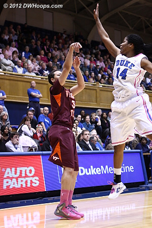 DWHoops Photo  - Duke Tags: #14 Ka'lia Johnson - VT Players: #31 Monet Tellier