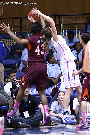 Great defense by Tech  - Duke Tags: #43 Allison Vernerey - VT Players: #43 LaTorri Hines-Allen