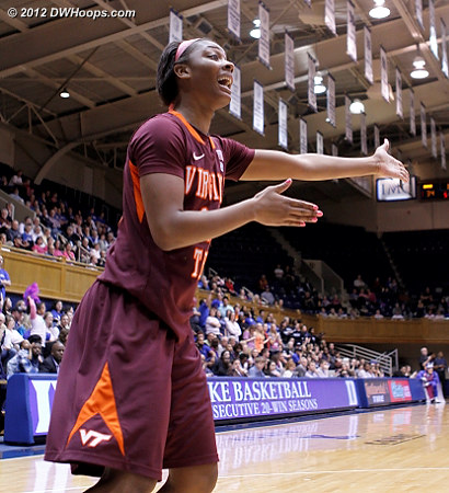 Tech felt like they weren't getting any calls as the first half free throw disparity was 20-0.  - VT Players: #43 LaTorri Hines-Allen