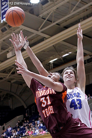 DWHoops Photo  - Duke Tags: #43 Allison Vernerey - VT Players: #31 Monet Tellier
