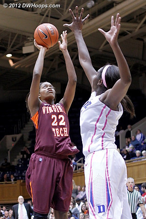 DWHoops Photo  - Duke Tags: #1 Elizabeth Williams - VT Players: #22 Porschia Hadley