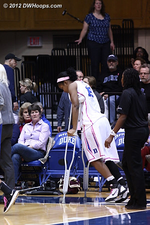 Richa Jackson returned to the bench for the second half, on crutches