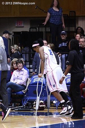 Richa Jackson returned to the bench for the second half, on crutches  - Duke Tags: #15 Richa Jackson