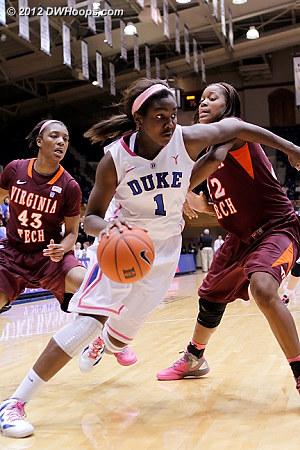 Williams makes a move on Hadley, she'd score, 37-28 Duke  - Duke Tags: #1 Elizabeth Williams - VT Players: #22 Porschia Hadley, #43 LaTorri Hines-Allen