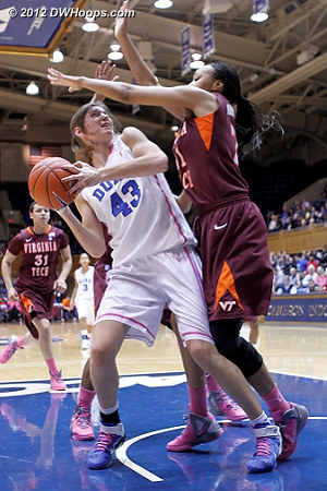 Duke really needs a basket but good VT defense forces another miss  - Duke Tags: #43 Allison Vernerey - VT Players: #21 Brittni Montgomery