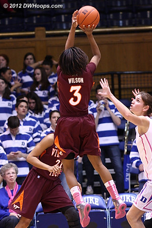 Wilson missed, but Tech eventually would find the basket to cut Duke lead to five  - VT Players: #3 Aerial Wilson