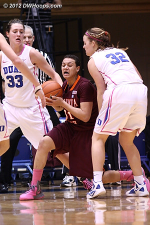 The Duke defense tightens up  - Duke Tags: #32 Tricia Liston, #33 Haley Peters - VT Players: #31 Monet Tellier