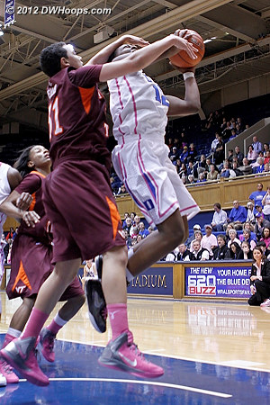 Tellier fouls Gray in the act  - Duke Tags: #12 Chelsea Gray - VT Players: #31 Monet Tellier