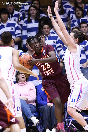 Hall hemmed in on the baseline  - Duke Tags: #33 Haley Peters - VT Players: #23 Larryqua Hall