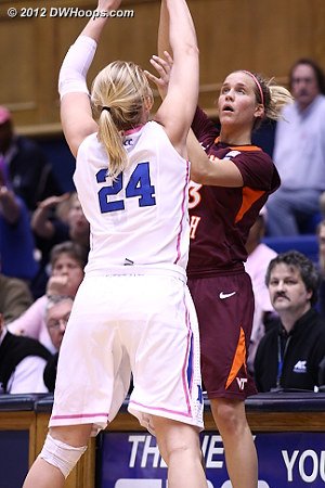 Scheer makes Fenyn's inbound pass difficult  - Duke Tags: #24 Kathleen Scheer - VT Players: #13 Alyssa Fenyn