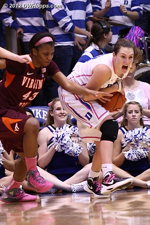 Haley grabs a key defensive board during a long Virginia Tech drought  - Duke Tags: #33 Haley Peters - VT Players: #43 LaTorri Hines-Allen