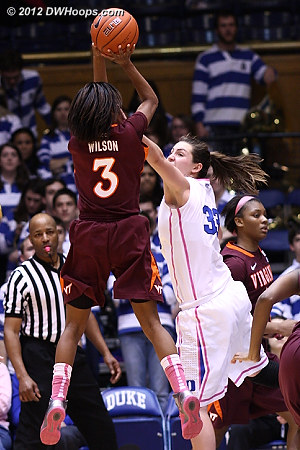Wilson was 2-12 in the second half with no threes  - Duke Tags: #33 Haley Peters - VT Players: #3 Aerial Wilson