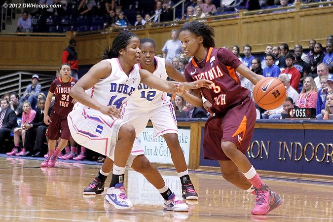 Duke's press during a 10-0 Blue Devil run  - Duke Tags: #12 Chelsea Gray, #14 Ka'lia Johnson - VT Players: #3 Aerial Wilson