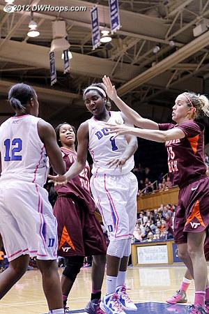 Williams dumps it off to Gray  - Duke Tags: #1 Elizabeth Williams, #12 Chelsea Gray - VT Players: #13 Alyssa Fenyn, #22 Porschia Hadley