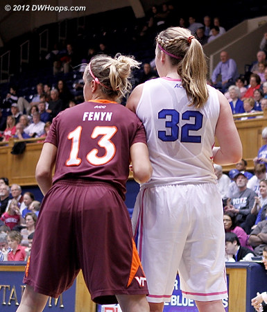 Jockeying for position before the ball was even put in play  - Duke Tags: #32 Tricia Liston - VT Players: #13 Alyssa Fenyn