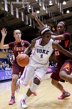 Elizabeth Williams drives to the basket in the closing minutes  - Duke Tags: #1 Elizabeth Williams - VT Players: #13 Alyssa Fenyn, #43 LaTorri Hines-Allen