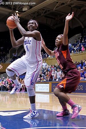 Liz puts Duke up by 20  - Duke Tags: #1 Elizabeth Williams - VT Players: #23 Larryqua Hall