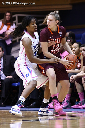 DWHoops Photo  - Duke Tags: #14 Ka'lia Johnson - VT Players: #12 Rachel Nichols