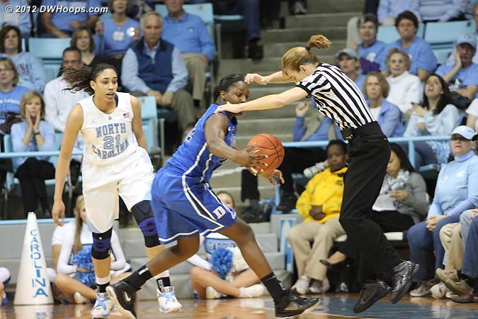 Chelsea runs into Dee trying to steal an errant Tar Heel pass  - Duke Tags: #12 Chelsea Gray - UNC Players: #21 Krista Gross