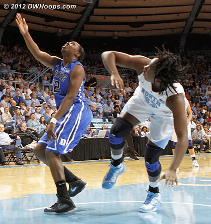 Gray stole the inbounds pass, scored, and was fouled  - Duke Tags: #12 Chelsea Gray - UNC Players: #33 Laura Broomfield