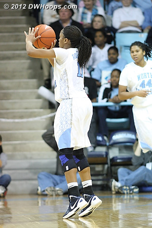 A trey cut Carolina's deficit to 53-40 at the under 16 media time out  - UNC Players: #11 Brittany Rountree