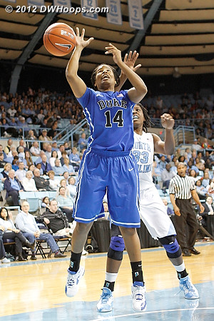KJ's shot swatted away by Broomfield - Gray returned on the ensuing dead ball  - Duke Tags: #14 Ka'lia Johnson - UNC Players: #33 Laura Broomfield