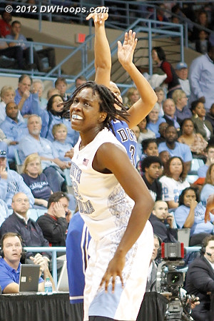 Selby gets a great threeball look but misses  - Duke Tags: #3 Shay Selby - UNC Players: #33 Laura Broomfield