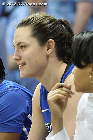 Haley Peters returned to the Duke bench after getting her lip stitched back together