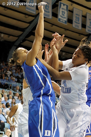 Battle for a rebound  - Duke Tags: #3 Shay Selby - UNC Players: #44 Tierra Ruffin-Pratt