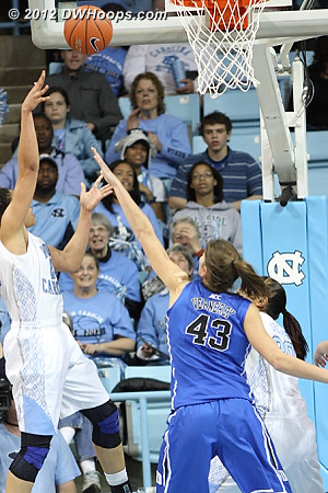 Gross sticks back her own miss, Heels within four with 1:16 to go  - UNC Players: #21 Krista Gross