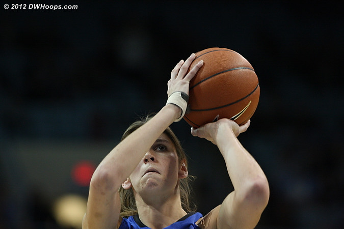 With Duke up four and under 30 seconds to go, Carolina wisely put Vernerey on the line.  She missed both, but Peters got the rebound.  - Duke Tags: #43 Allison Vernerey