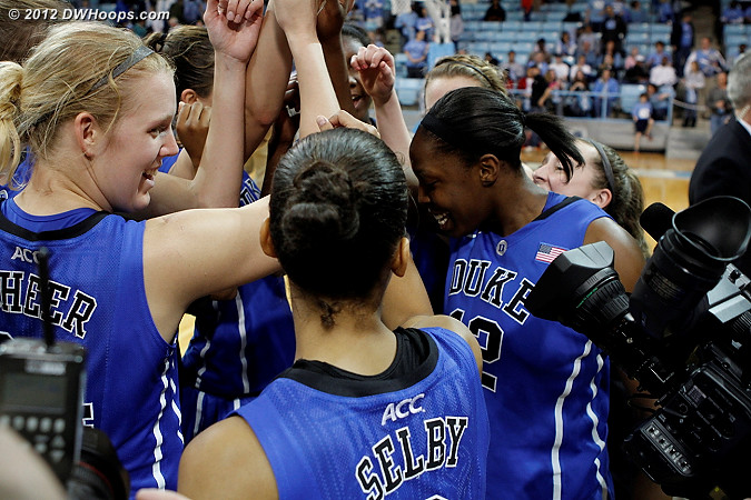 In the postgame huddle Chelsea remarked that Duke hadn't won in Chapel Hill in a long time, and
