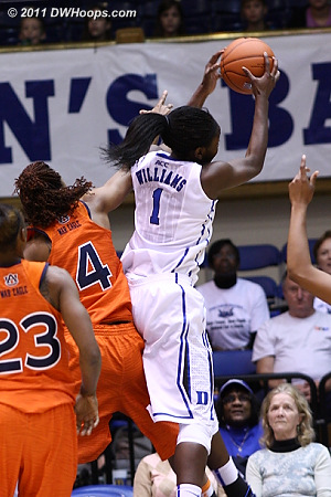 Williams grabs a defensive rebound - she boarded 7 in the first half alone  - Duke Tags: #1 Elizabeth Williams