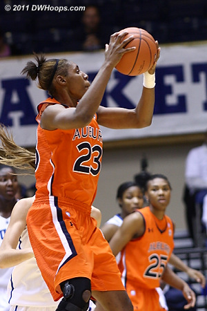 Auburn's Chantel Hilliard (23) made a solid showing from the bench