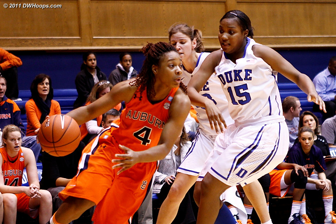 Duke press surrounds Parrisha Simmons (4)  - Duke Tags: #15 Richa Jackson, #43 Allison Vernerey