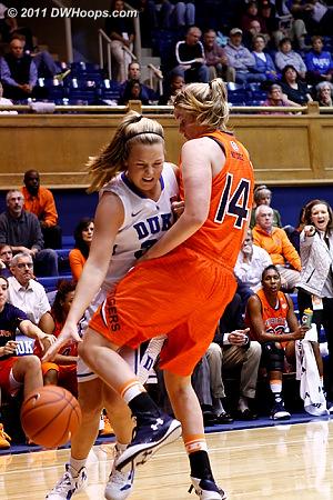 Tricia Liston and Blanche Alverson (14) collide  - Duke Tags: #32 Tricia Liston