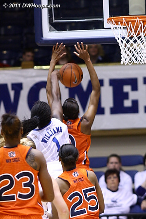 Elizabeth Williams returns the favor, blocking the shot of Auburn's Jassany Williams  - Duke Tags: #1 Elizabeth Williams