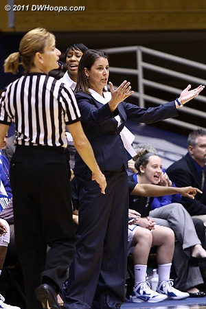 Coach P exhorts her defense  - Duke Tags: Joanne P. McCallie