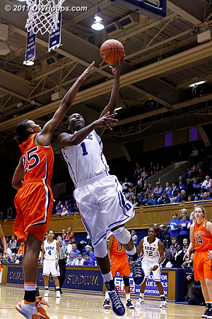 Elizabeth Williams shoots over Jassany Williams (25)  - Duke Tags: #1 Elizabeth Williams
