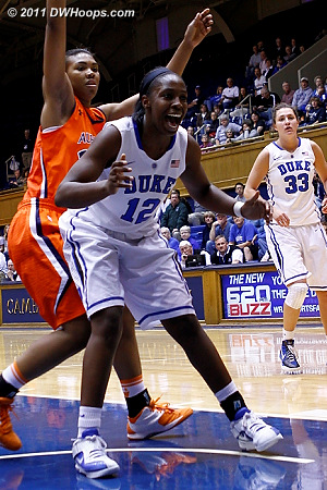 Chelsea Gray watches the ball go out of bounds off Auburn  - Duke Tags: #12 Chelsea Gray