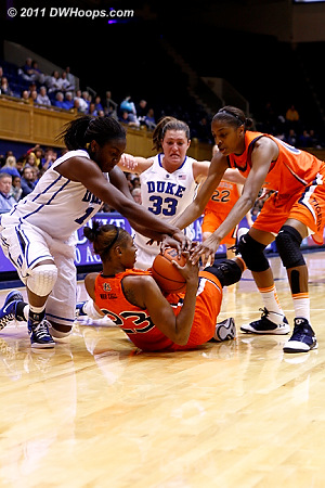 Liz Williams ties up Chantel Hilliard  - Duke Tags: #1 Elizabeth Williams