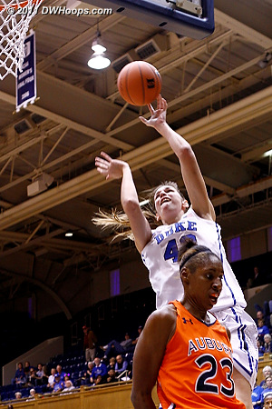 Allison Vernerey finishes in transition as Chantel Hilliard (23) doesn't foul.  - Duke Tags: #43 Allison Vernerey