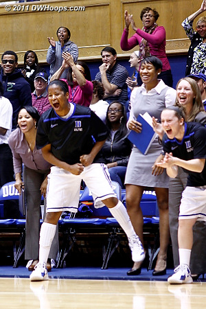 Ka'lia Johnson and Jenna Frush (right) cheer from the bench  - Duke Tags: #14 Ka'lia Johnson, #35 Jenna Frush