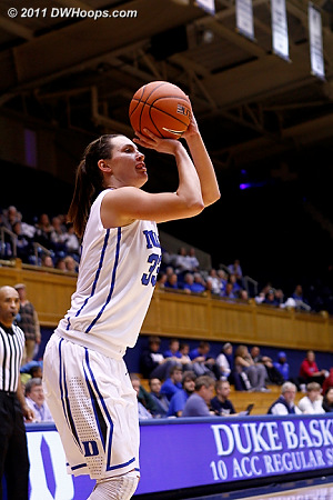 Haley Peters hits a short baseline jumper off an inbounds pass, Duke up 61-42.  - Duke Tags: #33 Haley Peters