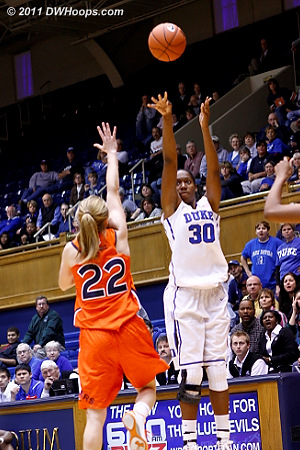 Amber Henson shoots a three  - Duke Tags: #30 Amber Henson