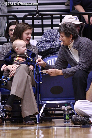 Georgia Schweitzer, our #4 player in Duke Women's Basketball history, with her son and Jacki Silar