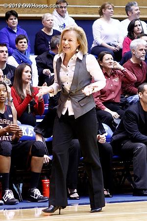 FSU coach Sue Semrau looks for a call